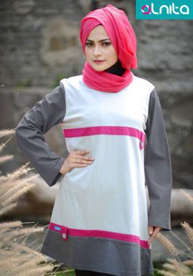 Baju Atasan Alnita Abu-abu Muda
