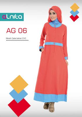 Baju Gamis Alnita Fashion Merah Cabe