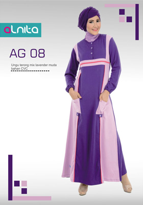 Gamis Alnita Ungu Terong Mix Lavender Muda