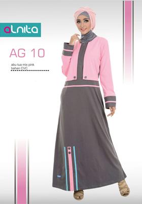 Baju Muslim Alnita Gamis Abu Tua Mix Pink
