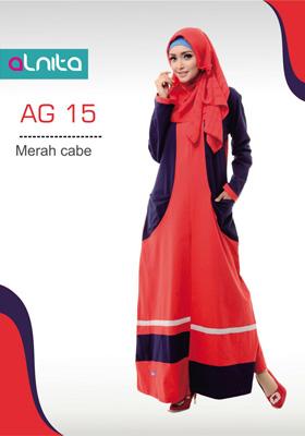 Gamis Alnita Merah Cabe
