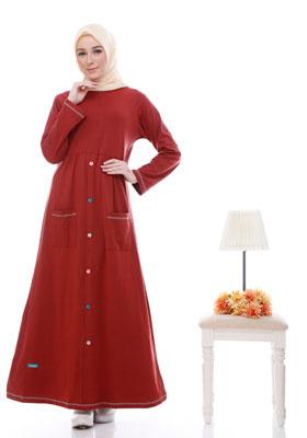 Baju Gamis Alnita Merah Twotone