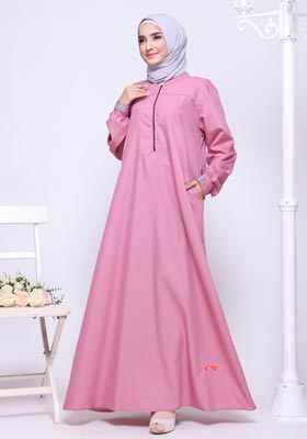 Gamis Nibras Basic NBC 04 Dusty Pink