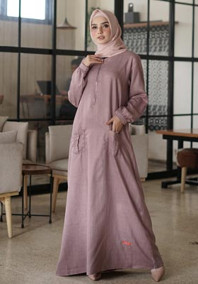 Gamis Nibras Basic NBC 11 Dusty Pink